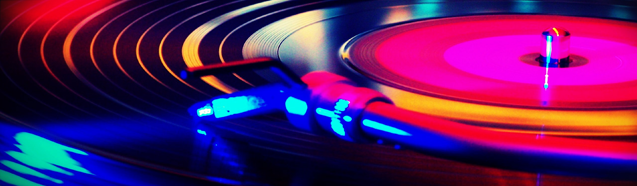 colorful close up of music dj turntable web header